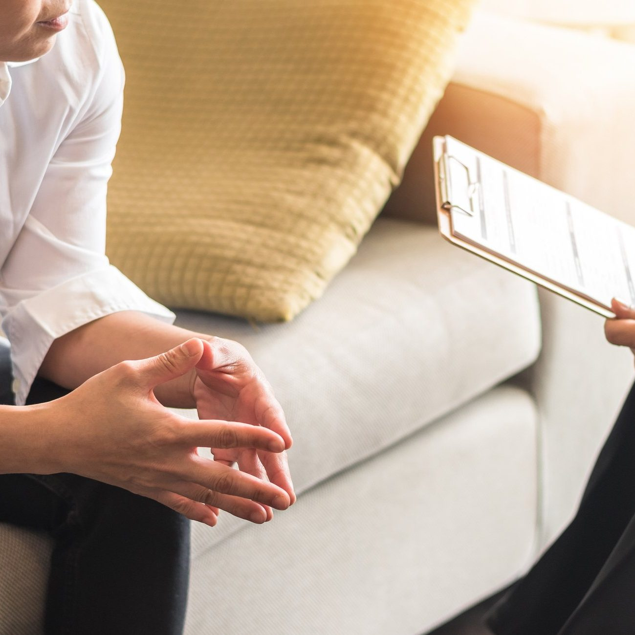 Doctor or psychiatrist consulting and diagnostic examining stressful woman patient on obstetric - gynecological female illness, or mental health in medical clinic or hospital healthcare service center